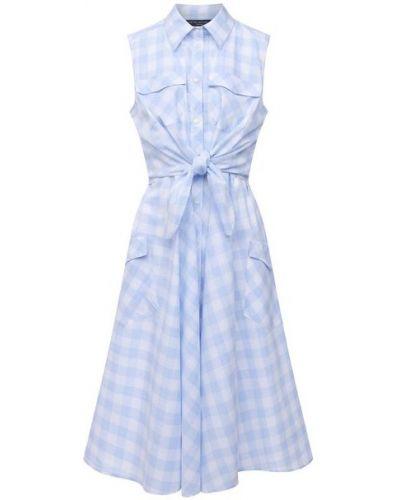Хлопковое синее платье с подкладкой Pietro Brunelli