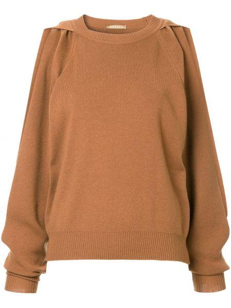 Шерстяной коричневый вязаный свитер в рубчик Nehera