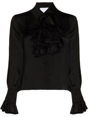 Czarna bluzka z długimi rękawami z wiskozy Halpern