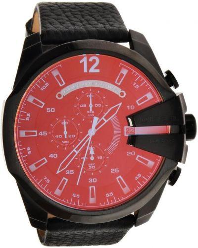 Czarny zegarek na skórzanym pasku skórzany Diesel