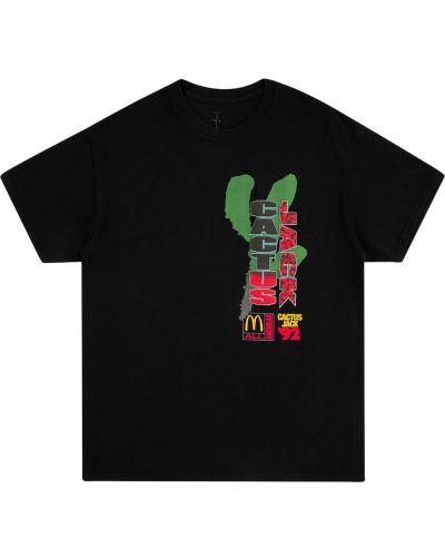 Czarny t-shirt bawełniany z printem Travis Scott Astroworld