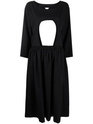 Прямое с рукавами черное платье макси Comme Des Garçons Comme Des Garçons