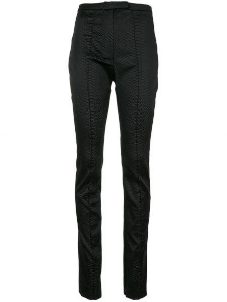 Czarne spodnie z wysokim stanem z nylonu Alex Perry