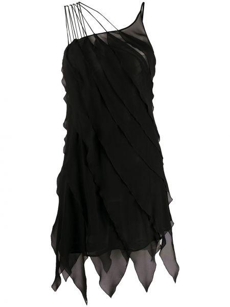 Шелковое черное тонкое платье на бретелях Redemption