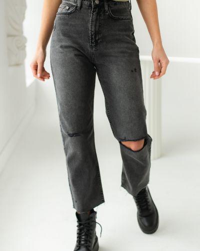 Хлопковые серые рваные джинсы Clew