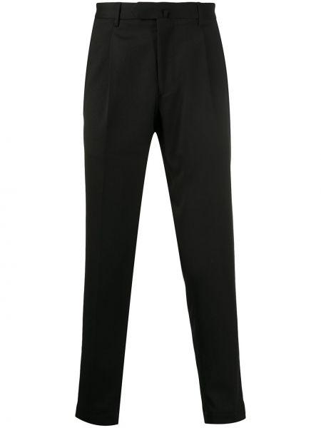 Шерстяные черные укороченные брюки на пуговицах Dell'oglio
