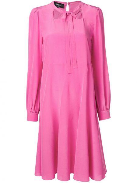 Шелковое розовое платье на пуговицах Rochas