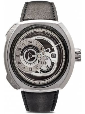 Czarny zegarek na skórzanym pasku skórzany Sevenfriday