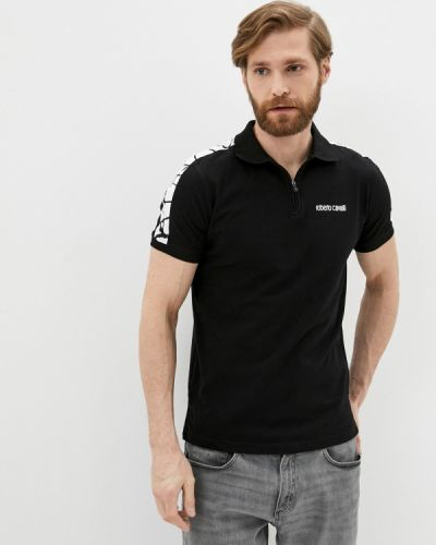 Черное поло с короткими рукавами Roberto Cavalli