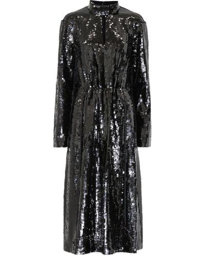 Czarny bawełna bawełna sukienka midi Tibi