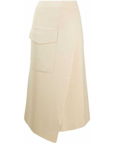 С завышенной талией бежевая юбка с карманами Mrz