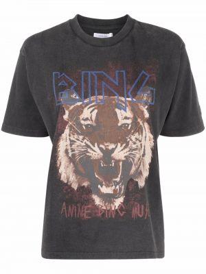 Прямая хлопковая черная футболка Anine Bing