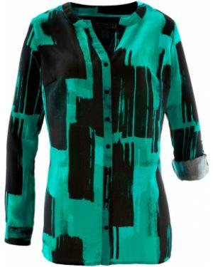 Блузка с длинным рукавом с воротником-стойкой на пуговицах Bonprix