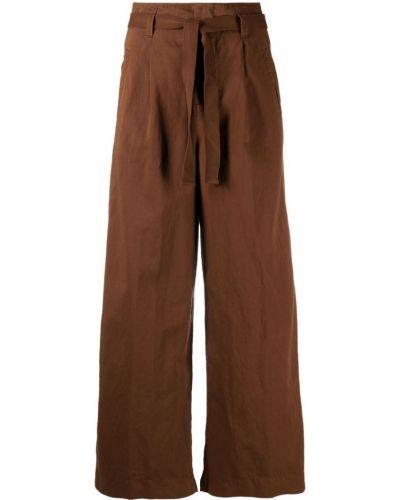 Хлопковые коричневые укороченные брюки с поясом Incotex