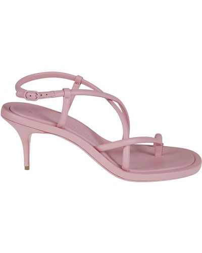 Sandały skórzane eleganckie - różowe Alexander Mcqueen