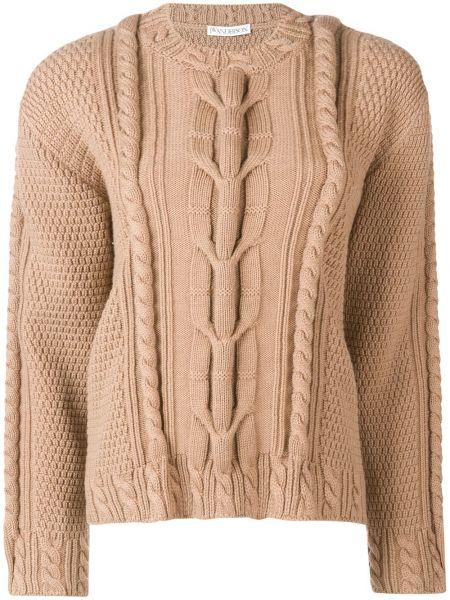Шерстяной вязаный свитер в рубчик с круглым вырезом Jw Anderson