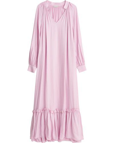 Różowa sukienka midi elegancka krótki rękaw By Malene Birger