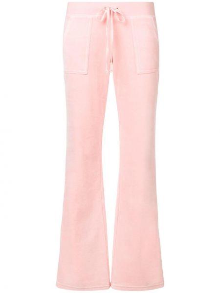 Розовые велюровые спортивные брюки с карманами свободного кроя Juicy Couture