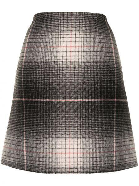 Шерстяная серая с завышенной талией юбка мини Paule Ka
