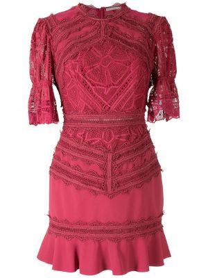 Кружевное с рукавами красное платье мини Martha Medeiros