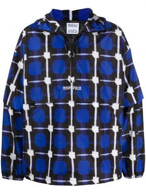 Niebieska długa kurtka z kapturem z haftem Marcelo Burlon County Of Milan