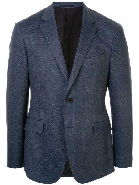 Синий пиджак на пуговицах с лацканами с карманами Kent & Curwen