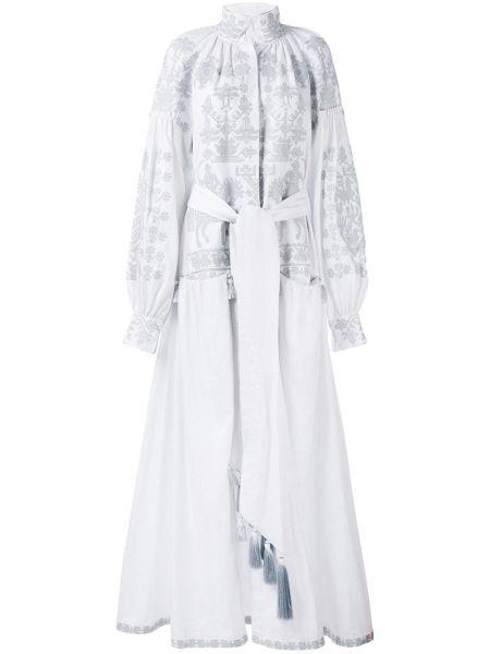 Белое льняное свадебное платье с вышивкой на пуговицах Yuliya Magdych