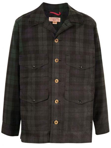 Czarny długa kurtka z kieszeniami z mankietami zapinane na guziki Filson
