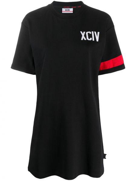Хлопковое черное платье с вышивкой с короткими рукавами Gcds