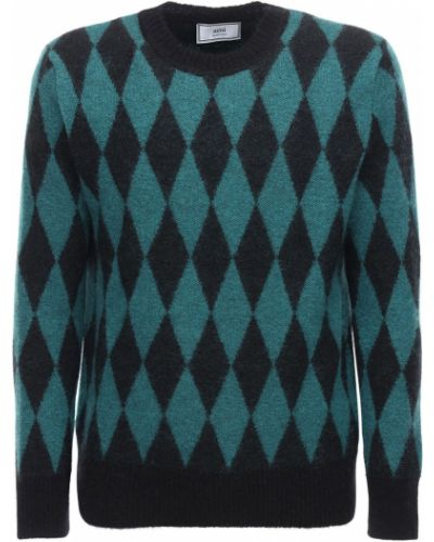 Z rombem czarny sweter z moheru z diamentem Ami Alexandre Mattiussi