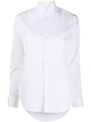 Белая приталенная классическая рубашка с воротником на пуговицах Ralph Lauren