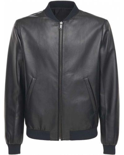 Кожаная куртка с воротником - черная Prada