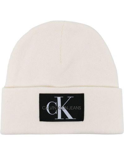 Кашемировая белая шапка бини с отворотом Calvin Klein