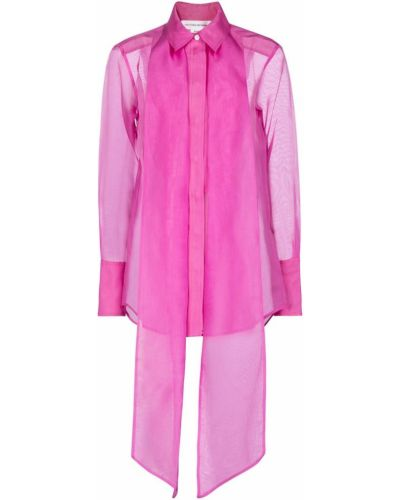 Розовая шелковая рубашка Victoria Beckham
