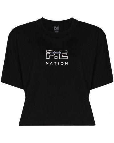 Czarny t-shirt bawełniany z haftem P.e Nation