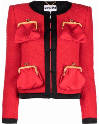 Красный пиджак с накладными карманами Moschino