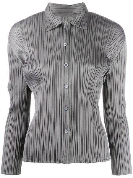 Koszula z długimi rękawami srebrna Pleats Please Issey Miyake