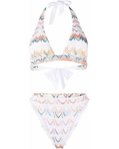 Белые бикини с завязками из вискозы с вышивкой Missoni Mare