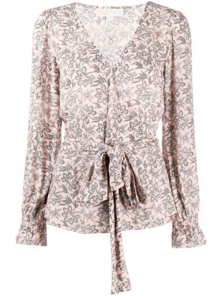С рукавами прямая розовая блузка с длинным рукавом из вискозы Michael Kors
