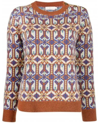 Brązowy z rękawami sweter z okrągłym dekoltem okrągły Tory Burch