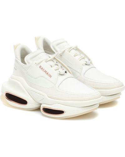 Белые кожаные кроссовки из натуральной кожи Balmain