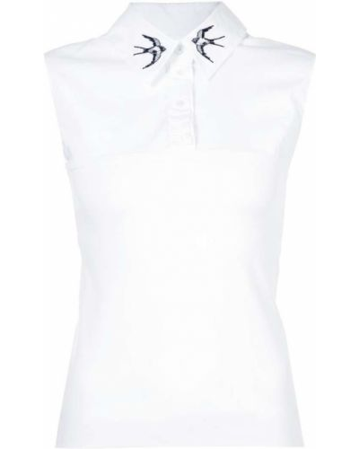 Белая блузка с вышивкой Marc Cain