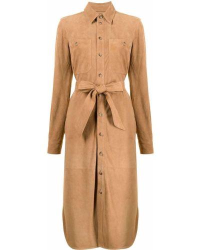 Замшевое платье миди - коричневое Polo Ralph Lauren
