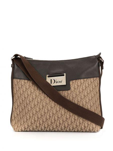 Коричневая парусиновая кожаная сумка на молнии с карманами Christian Dior