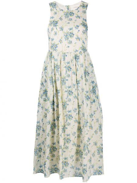 Платье миди без рукавов в цветочный принт с вырезом The Great.