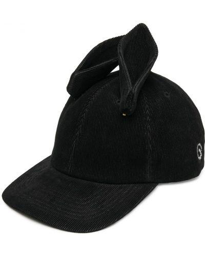 Czarna czapka z haftem skórzana Undercover