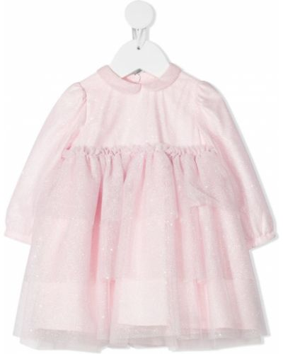 Розовое платье миди из фатина с воротником Il Gufo