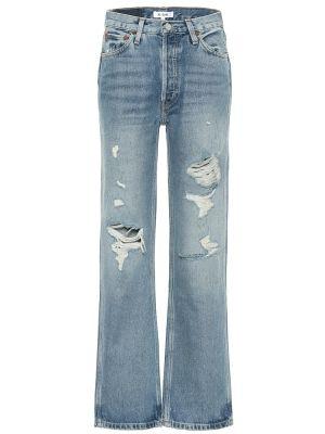 Ватные хлопковые синие свободные джинсы Re/done