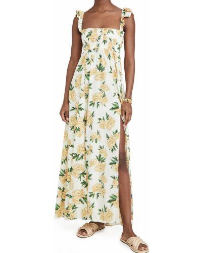 Платье с декольте - желтое Agua Bendita