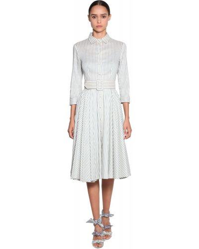 Льняное синее платье-рубашка в полоску Luisa Beccaria